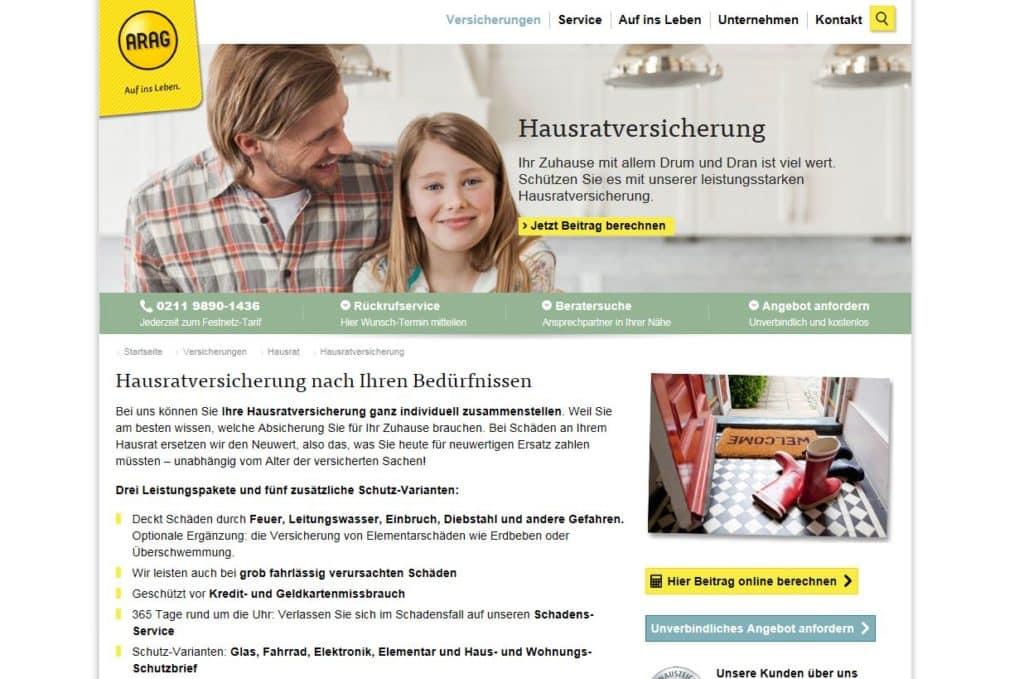 Die Webseite der ARAG