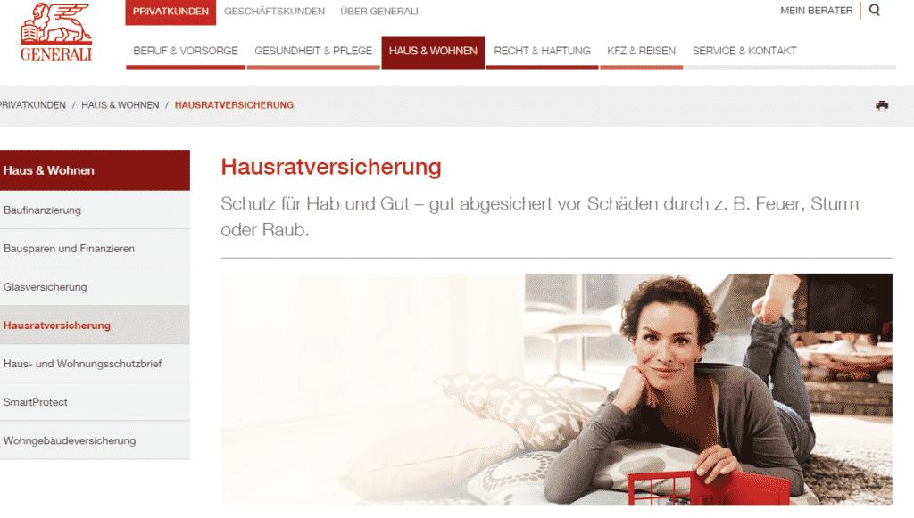 Die Webseite der Generali