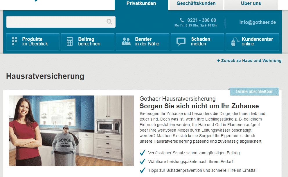 Die Webseite der Gothaer