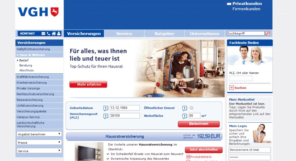 Die Webseite der VGH