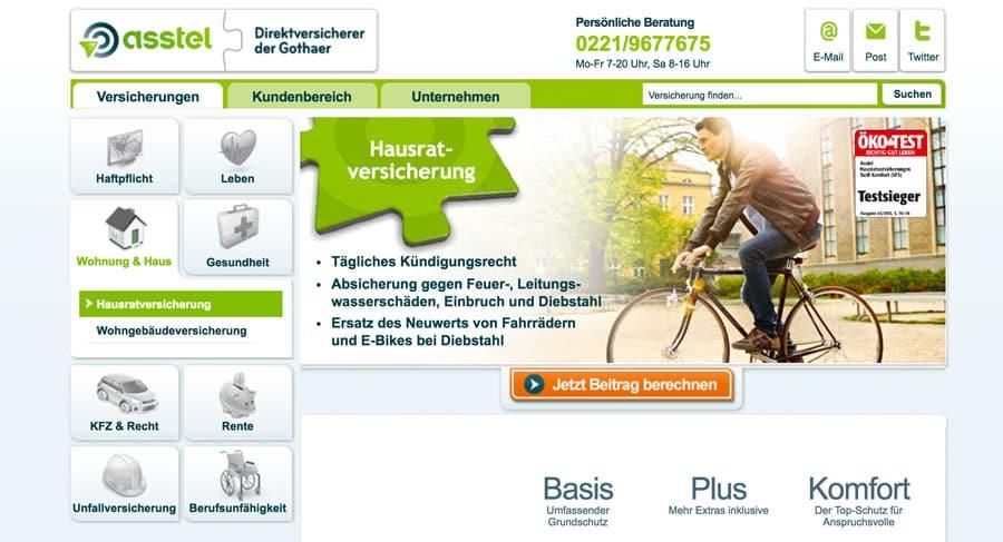 Webseite der Asstel Hausrat