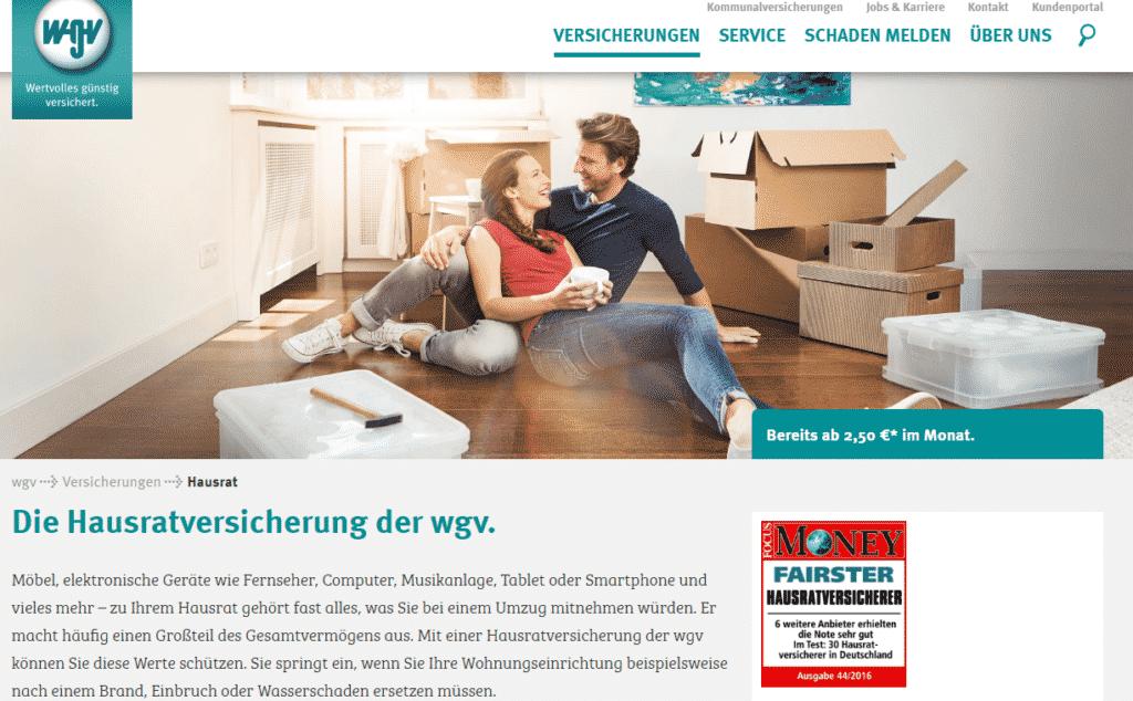 Der Webauftritt der WGV